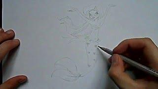Видео: как нарисовать русалку?(обучающее видео как нарисовать русалку простым карандашом поэтапно для начинающих., 2016-01-04T08:29:34.000Z)