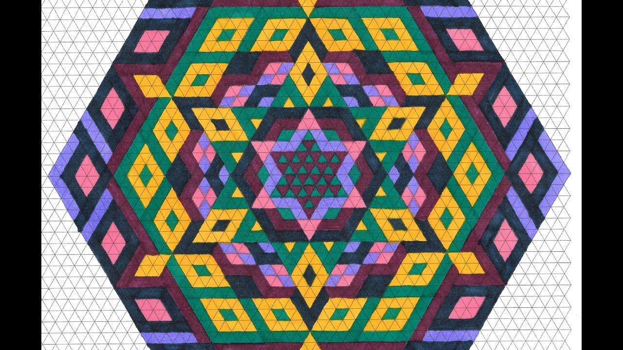 hexagon mandala  u2551 triangle graph paper drawing  u2551 tiffany