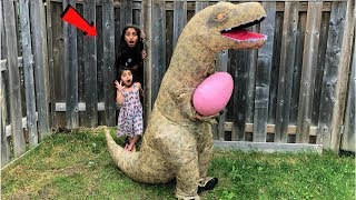 Kids pretend play T_REX Dinasour with huge EGG surprise