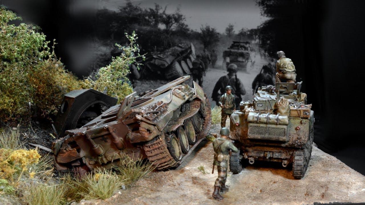 Panther VS Stuart - Skill Matters - Falaise pocket - 1/72 - Diorama