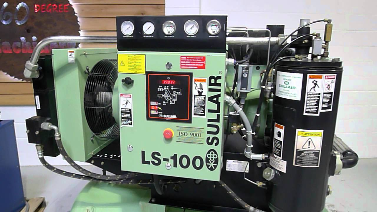 2004 sullair ls 100 40hp rotary screw compressor tank & dryer sold