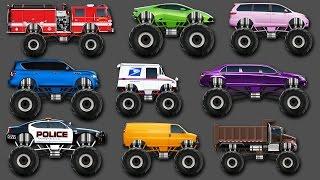 Monster Trucks Street Vehicles for kids Learn Colors Fire truck Mail truck Police car Dump truck