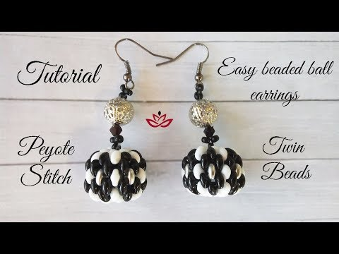 Beaded ball earrings with twin (superduo) beads