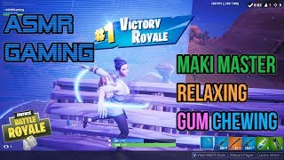 ASMR Gaming | Fortnite Maki Master Skin Relaxing Gum Chewing 🎮🎧Controller Sounds + Whispering😴💤