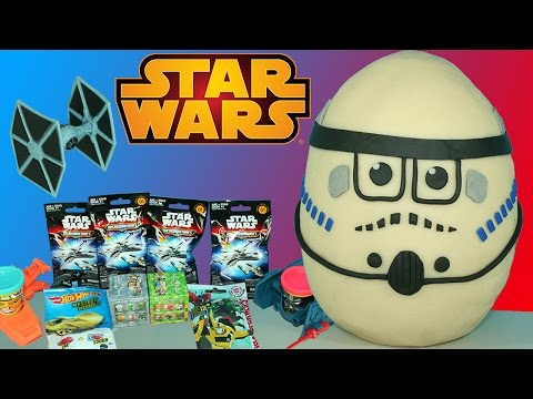 Giant Star Wars Play-Doh Surprise Stormtrooper Egg Micro Machines Minecraft Transformers Blind Bags