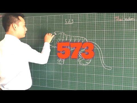 Hướng dẫn vẽ con hổ từ số 573 đơn giản | How to Draw Tigers |