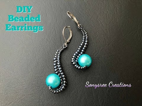 How to make this Unique Designer Beaded Earrings💞DIY Beaded Earrings.Herringbone stitch