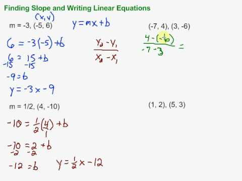 Finding Slope And Writing Linear Equations In Slope Intercept Form