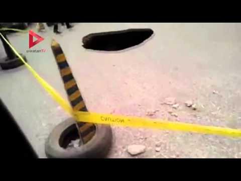 هبوط أرضي أمام مصنع كريستال عصفور آخر كوبري عرابي في شبرا الخيمة