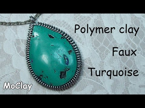 How to make Polymer clay faux turquoise - Cabochon frame tutorial