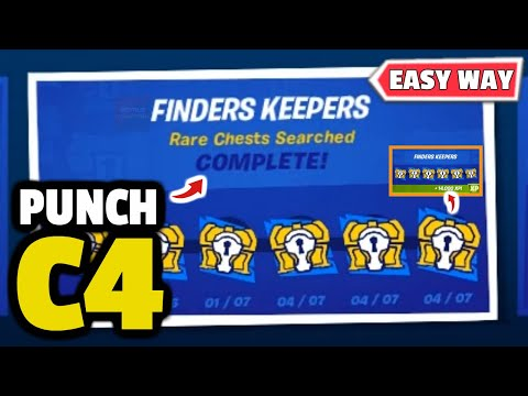 "Fortnite C4 Punch Card - ""Finders Keepers"" Rare Chests Searched (Fortnite Punch Card C4)!"
