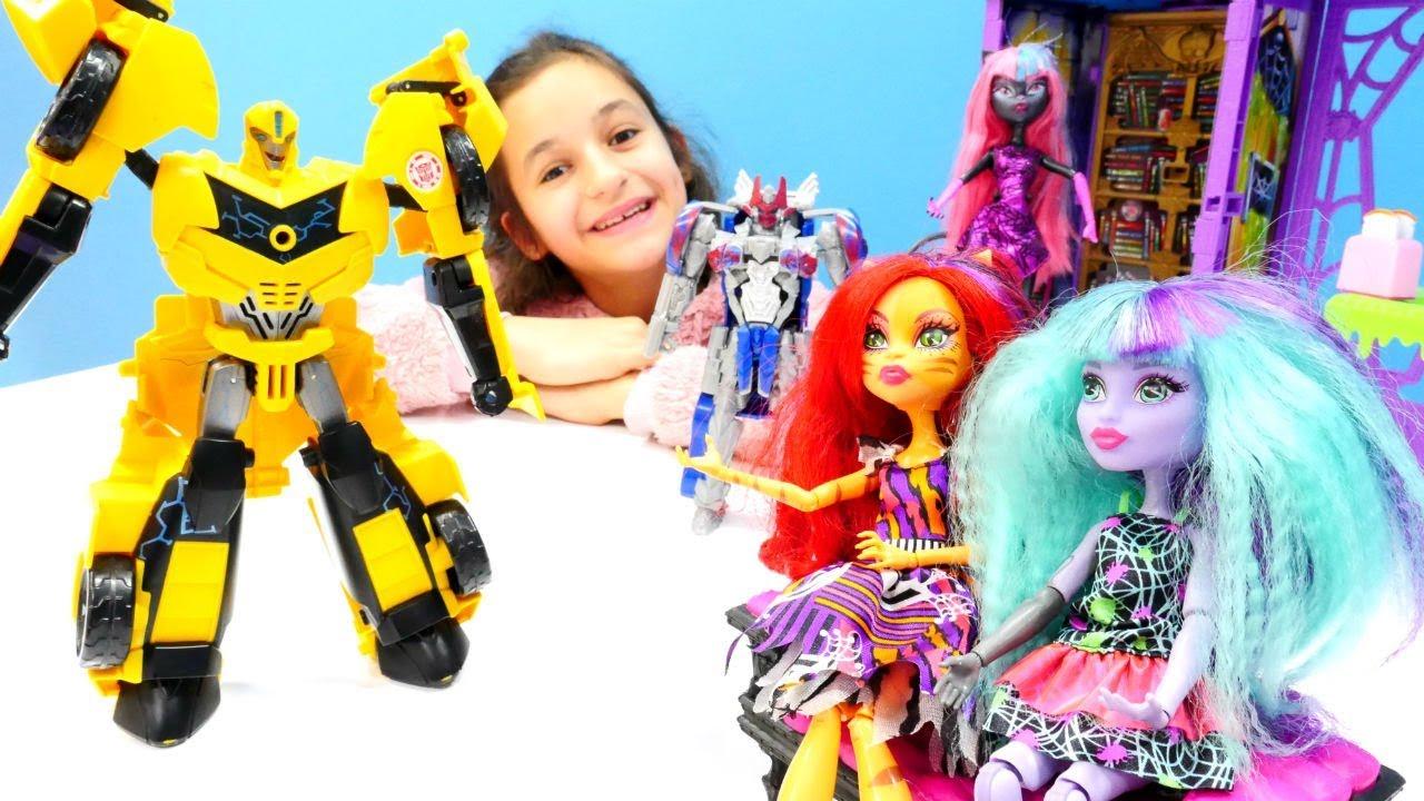 Видео для девочек. Необычные гости у кукол Монстер Хай.
