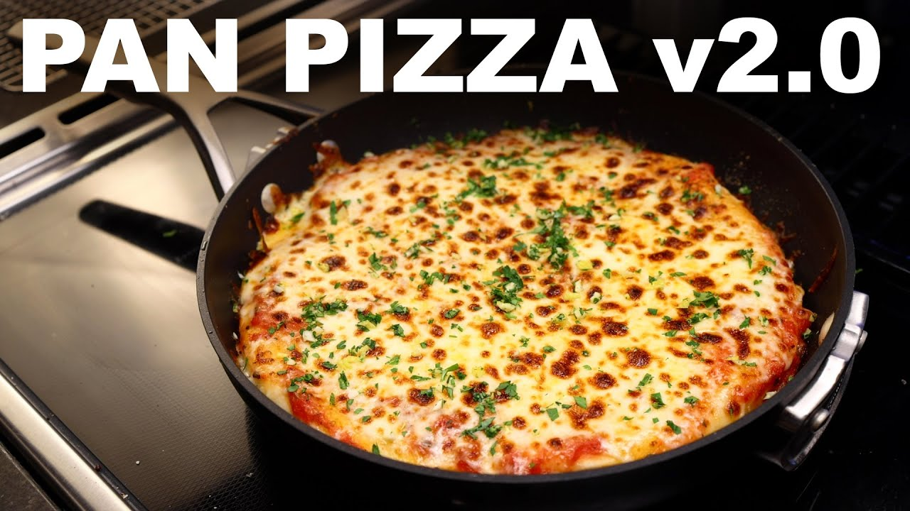Easier pan pizza in a non-stick — browned base and crispy rim
