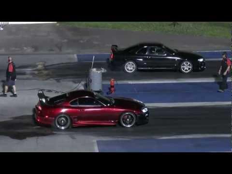 Toyota Supra vs Nissan Skyline 1/4 mile drag race (epic ending)