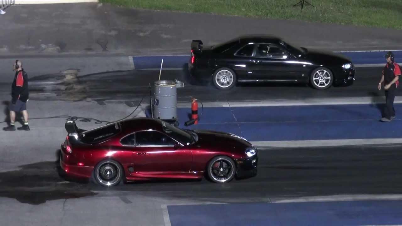 Toyota Supra vs Nissan Skyline 1/4 mile drag race (epic ending ...