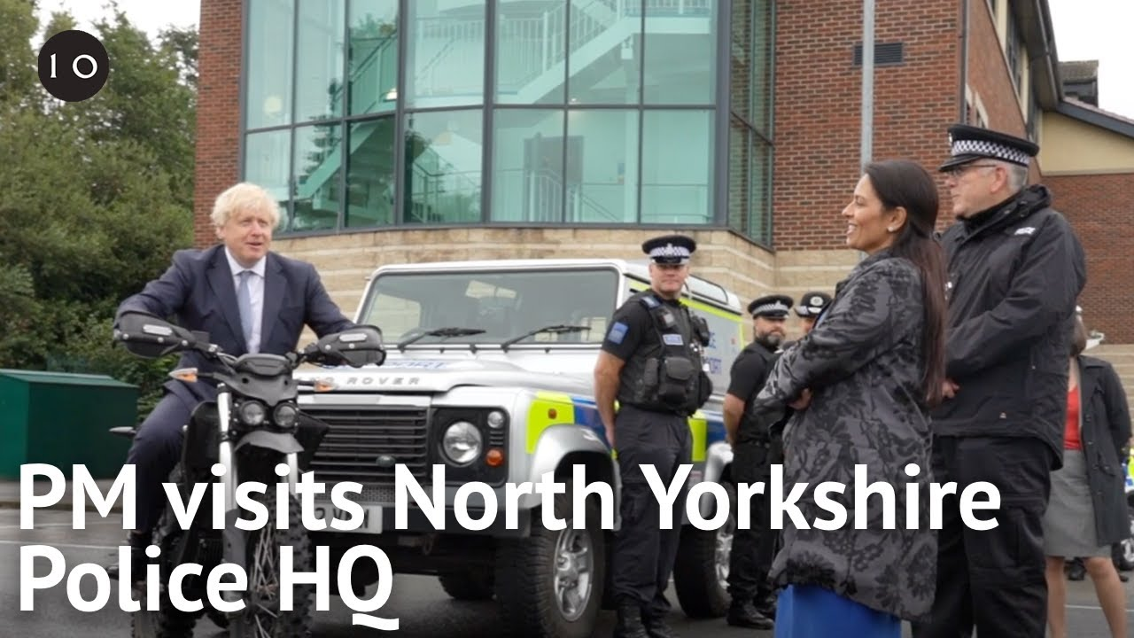 PM Boris Johnson visits new recruits at North Yorkshire Police HQ