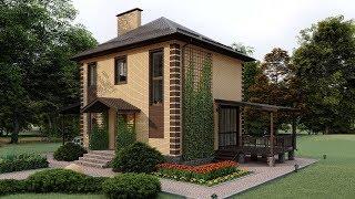 Проект маленького двухэтажного дома с навесом и террасой 98 кв.м. | SketchUp + Lumion 8