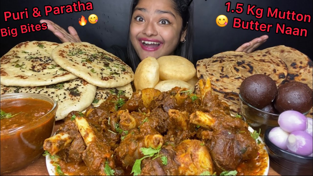 Download 1.5 KG SPICY MUTTON CURRY WITH BUTTER NAAN, PURI/LUCHI, LACHHA PARATHA AND GULAB JAMUN | EATING SHOW
