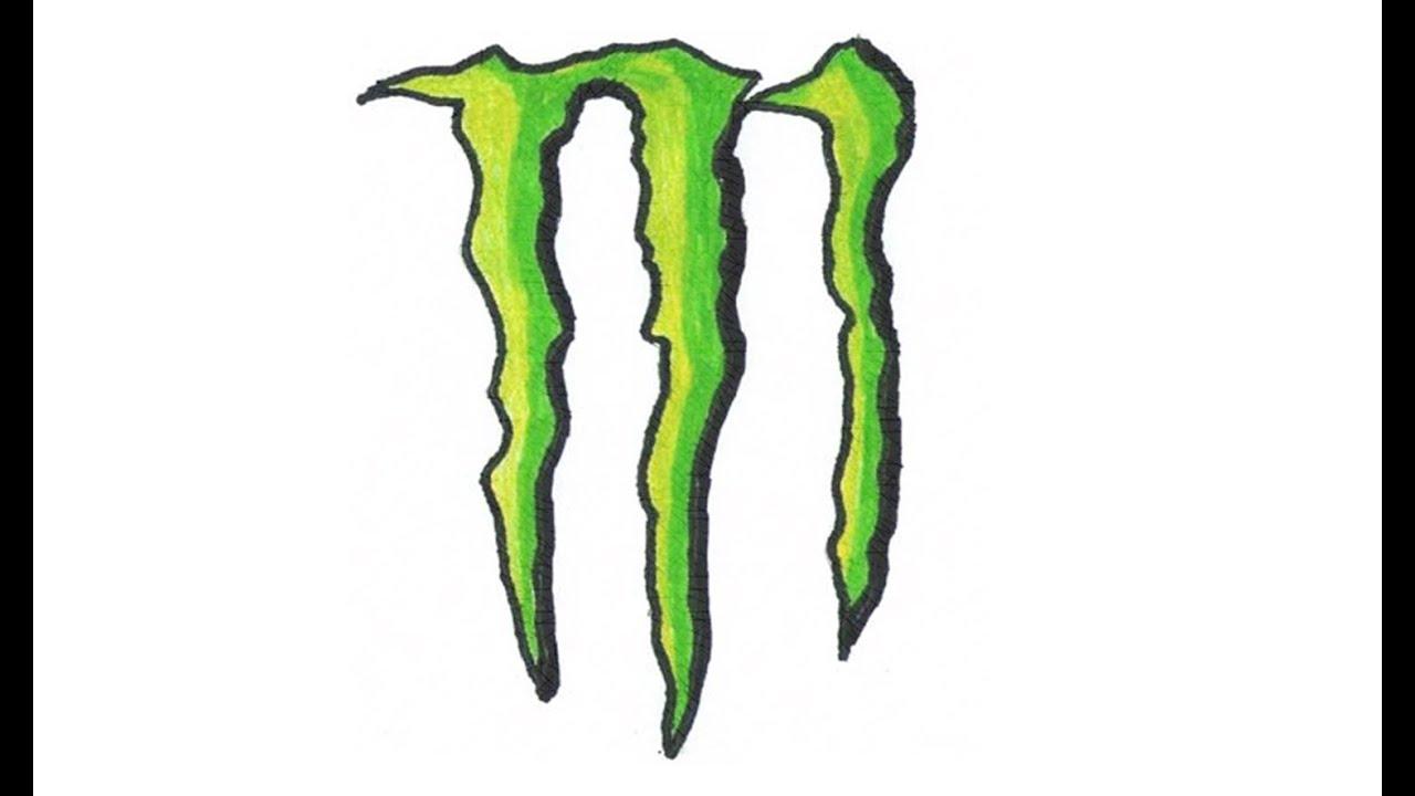 Wie zeichnet man logo von Monster Energy Drink (Emblem ...  Monster