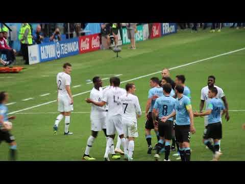 Разборка на матче Уругвай - Франция после симуляции Мбаппе.0 Uruguai - France. Riña. Fight