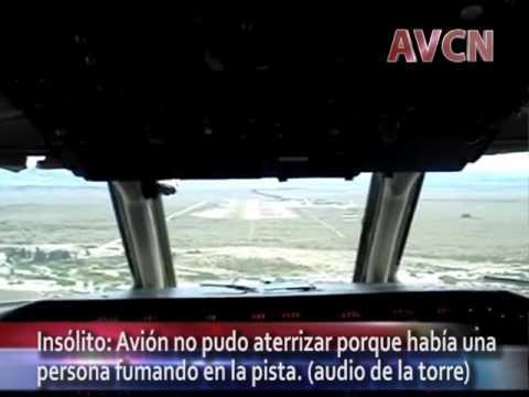 tension cuando un avion tuvo que desistir de aterrizar al ver un hombre fumando en la pista