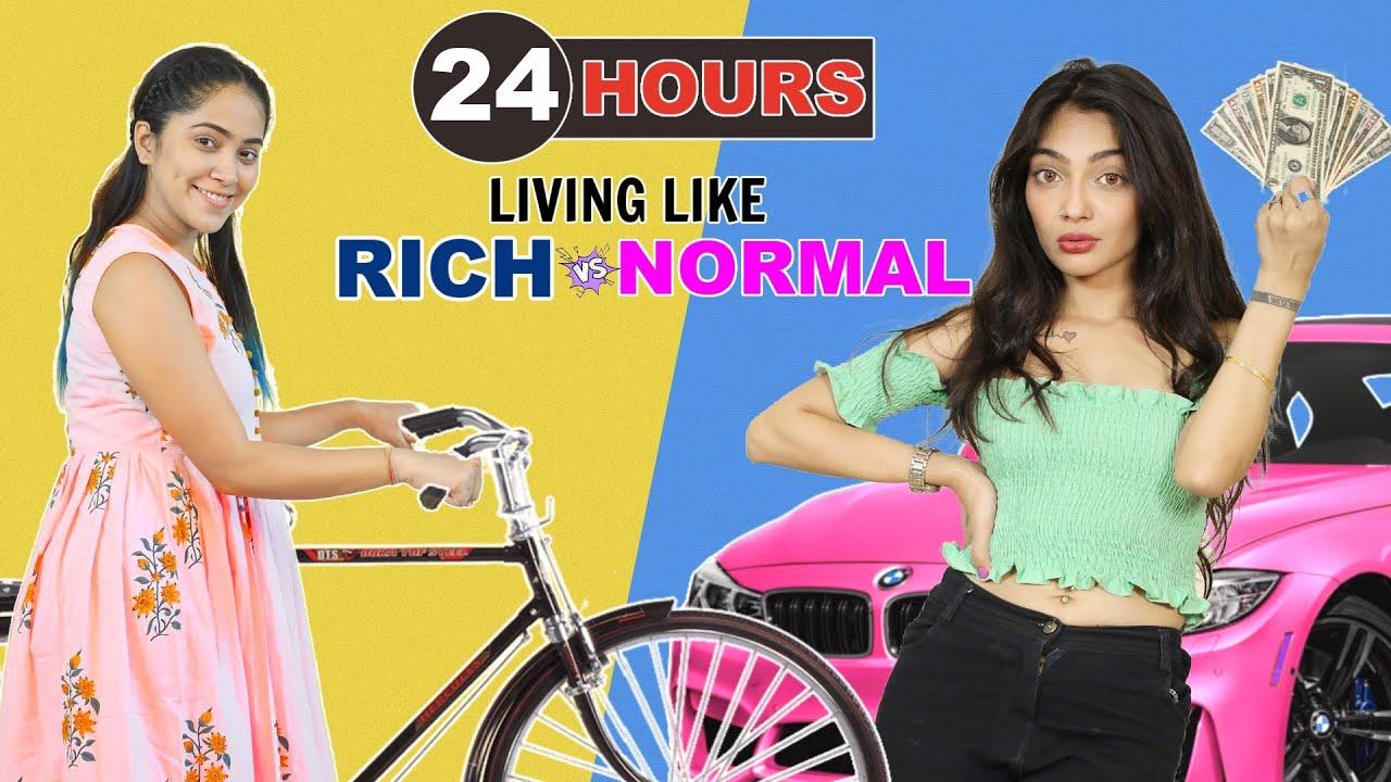 24 Hours Living Like Rich Vs Normal Challenge | Anaysa