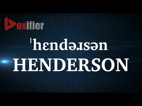 How to Pronunce Henderson in English - Voxifier.com