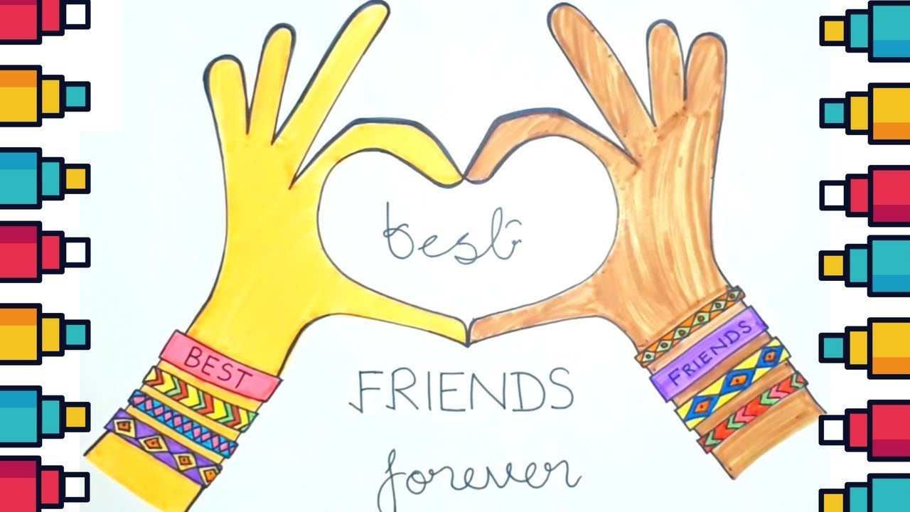 How To Draw Friendship Day Making Best Friends Card Youtube
