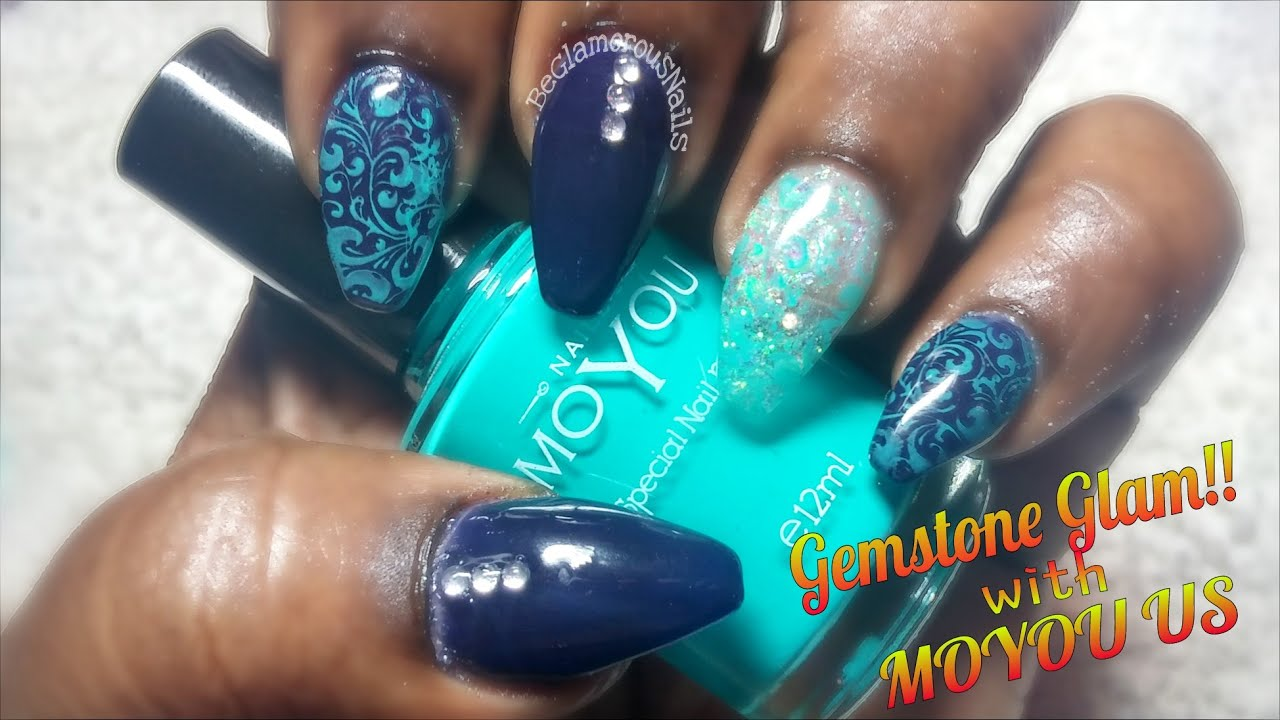 How To | Acrylic Nails | Dark Blue Polish | Encapsulated Glitter ...