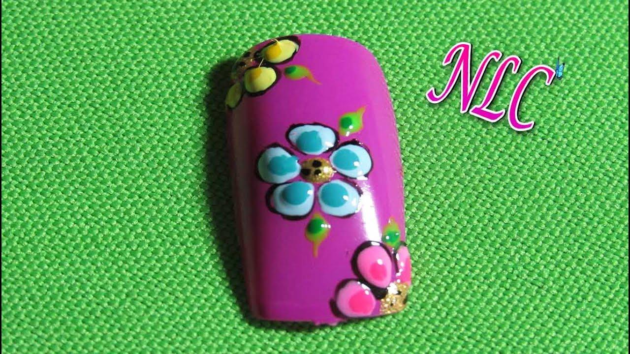 Decoración de uñas flores - Flowers nail art - Reto ABC F De Flores ...
