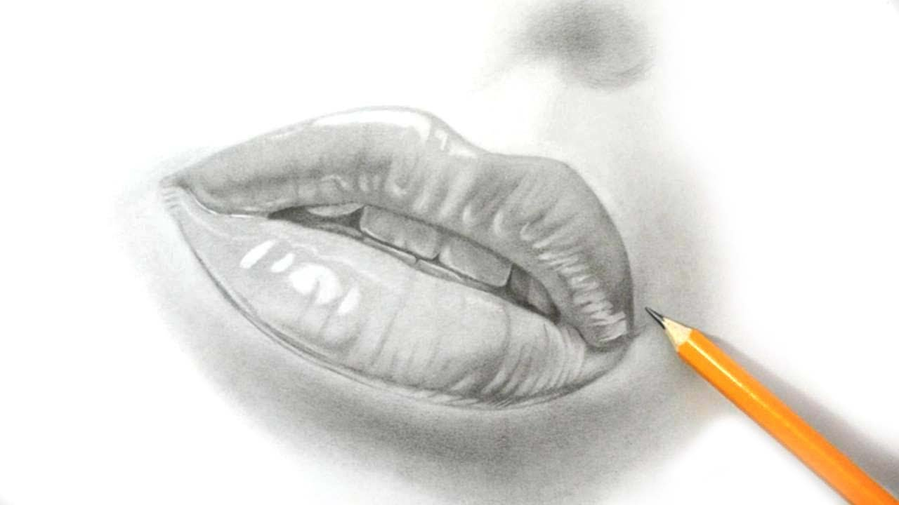 Simple Pencil Sketch Of Lips Pencil Sketch