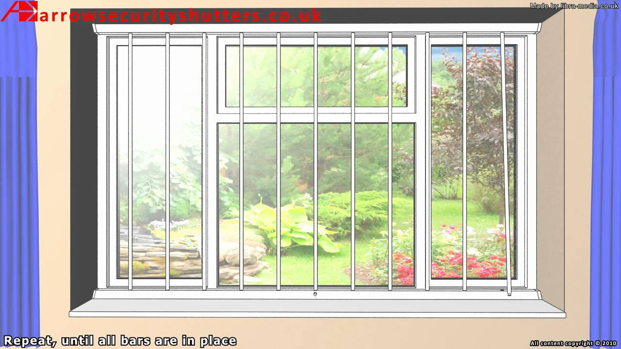 Removable Security Window Bars, window grilles - YouTube