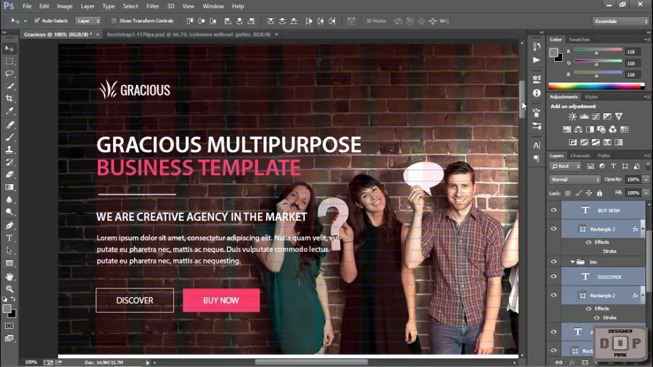 How to Create PSD Templates Using Grid System in Photoshop - Header ...