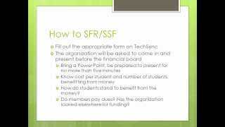 How to apply for an SFR and a SSF