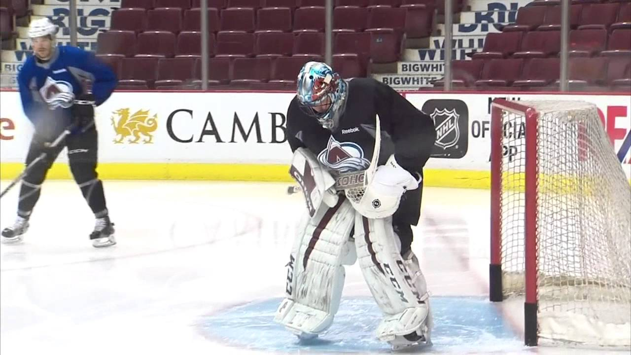 3a44380b55e Gotta See It  Roy takes to Avalanche practice in goalie gear - YouTube