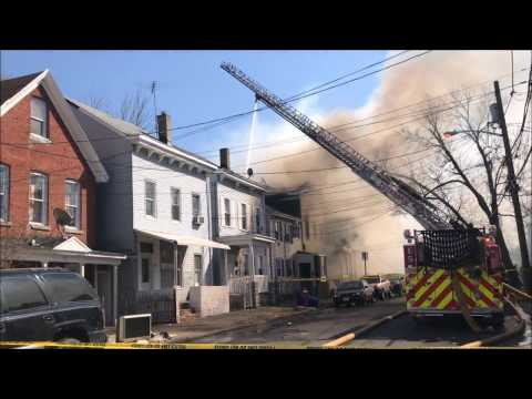 PATERSON FIRE DEPARTMENT WITH MUTUAL AID COMPANIES BATTLING MAJOR 5TH ALARM FIRE ON ROSE ST. IN N.J.