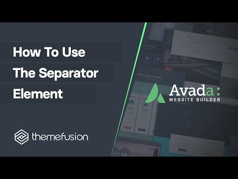 How To Use The Separator Element Video
