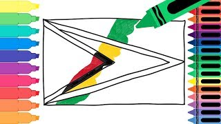 How to Draw Guyana Flag - Drawing the Guyanese Flag - Coloring Pages for kids | Tanimated Toys