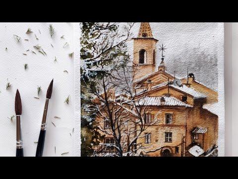 Watercolour landscape painting tutorial | Comunanza village, Italy