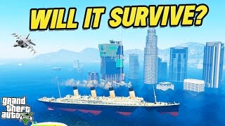 CAN THE TITANIC SURVIVE A TSUNAMI? (GTA 5 MODS)