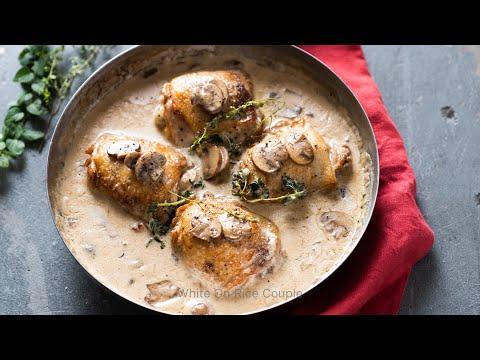 Skillet Chicken with Mushroom Wine Cream Sauce