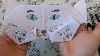 Оригами кошка из бумаги   Origami cat EASY