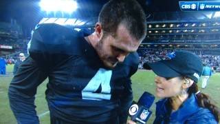 Derek Carr thanks Jesus after his 1st win.