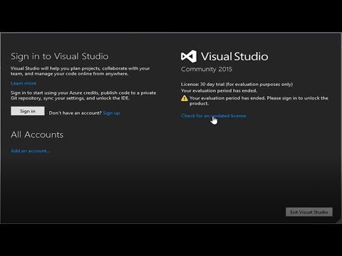 Visual Studio Community 2015 Remove License :30 day trial  message||2018||HD||