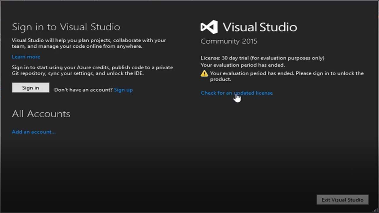 Visual Studio Community 2015 Remove License :30 day trial  message||2018||HD||
