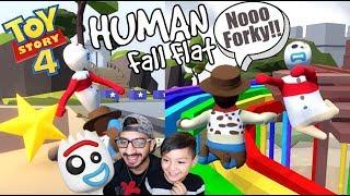 Forky en el Parque | Forky vs Woody Human Fall Flat | Juegos Karim Juega