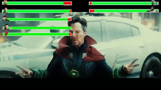 Iron Man, Dr Strange & Spiderman vs Ebony Maw & Cull Obsidian with healthbars