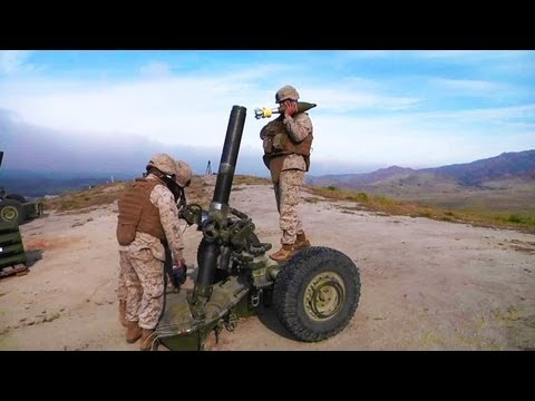 Artillery Marine M-327 Towed Rifle Mortar Weapon Live Fire