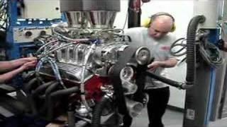 Small Block Chevy 671 blower 500HP Dyno Run