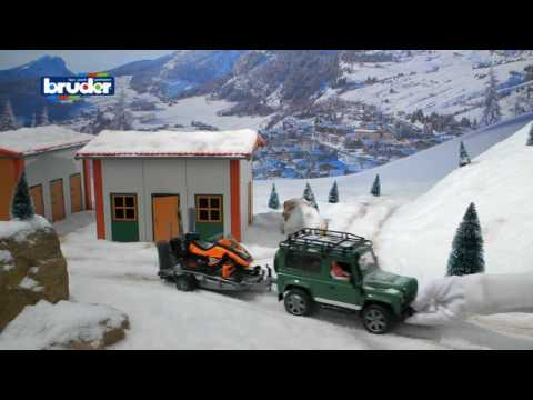 Bruder Toys Land Rover Defender With Trailer, Snowmobile And Driver #02594